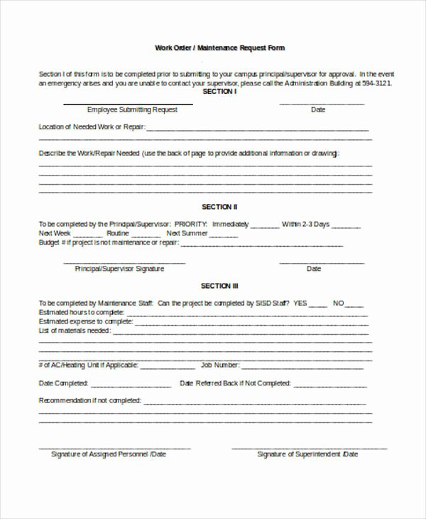 Maintenance Service Request form Template Beautiful Free 22 Work order form In Templates Pdf
