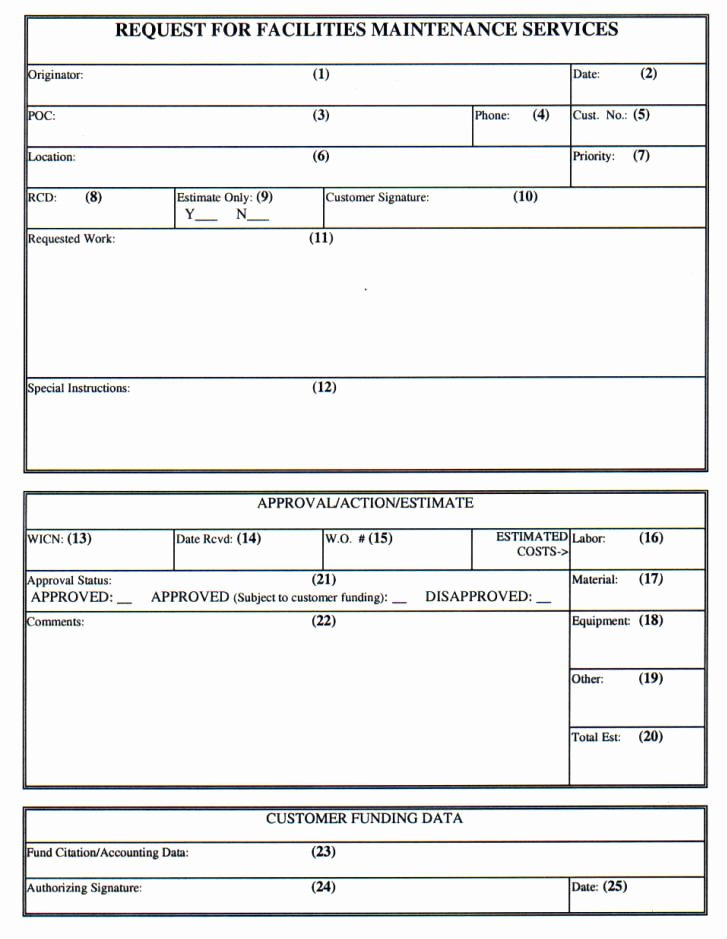 Maintenance Service Request form Template Best Of Npr 8831 2d Appdxc