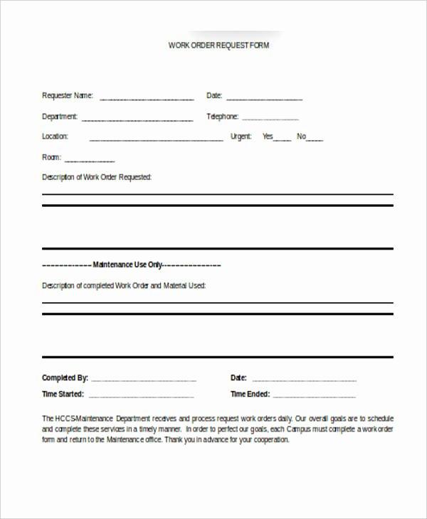 Maintenance Service Request form Template Elegant Maintenance Request form Template
