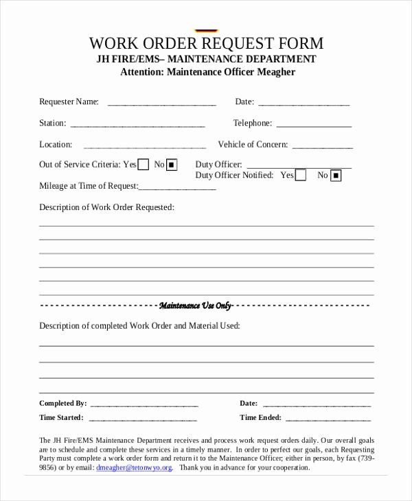 Maintenance Service Request form Template Fresh Free 5 Sample Maintenance Work order forms In Pdf