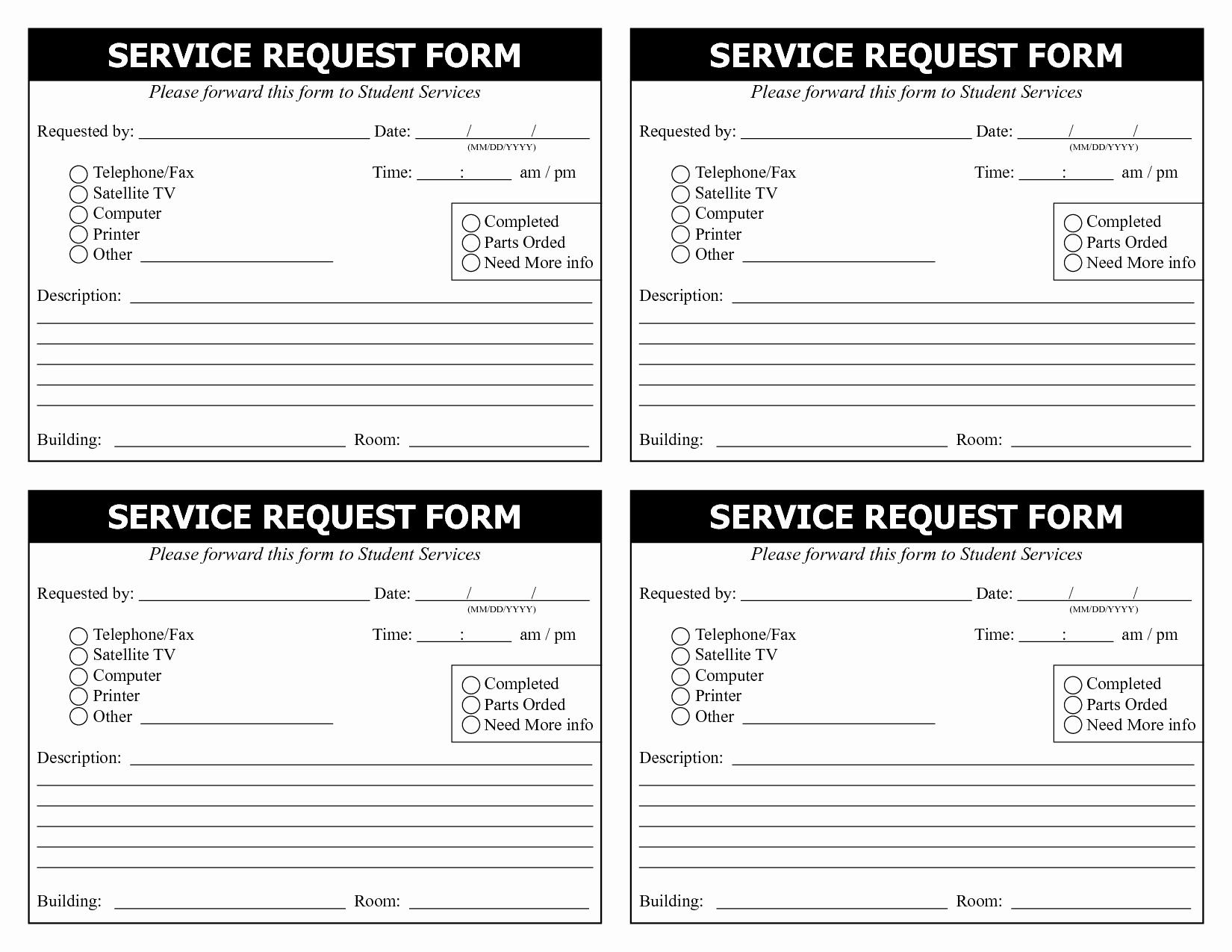 Maintenance Service Request form Template Luxury 28 Of Service Request Template
