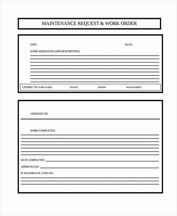 Maintenance Service Request form Template New Free 6 Maintenance Work order form In Sample Example format