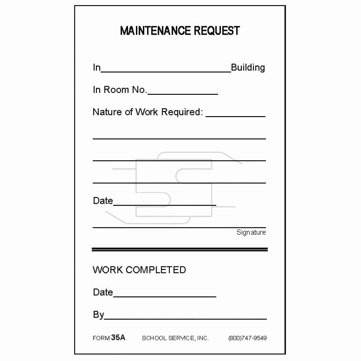 Maintenance Service Request form Template Unique 35a Maintenance Request Padded forms
