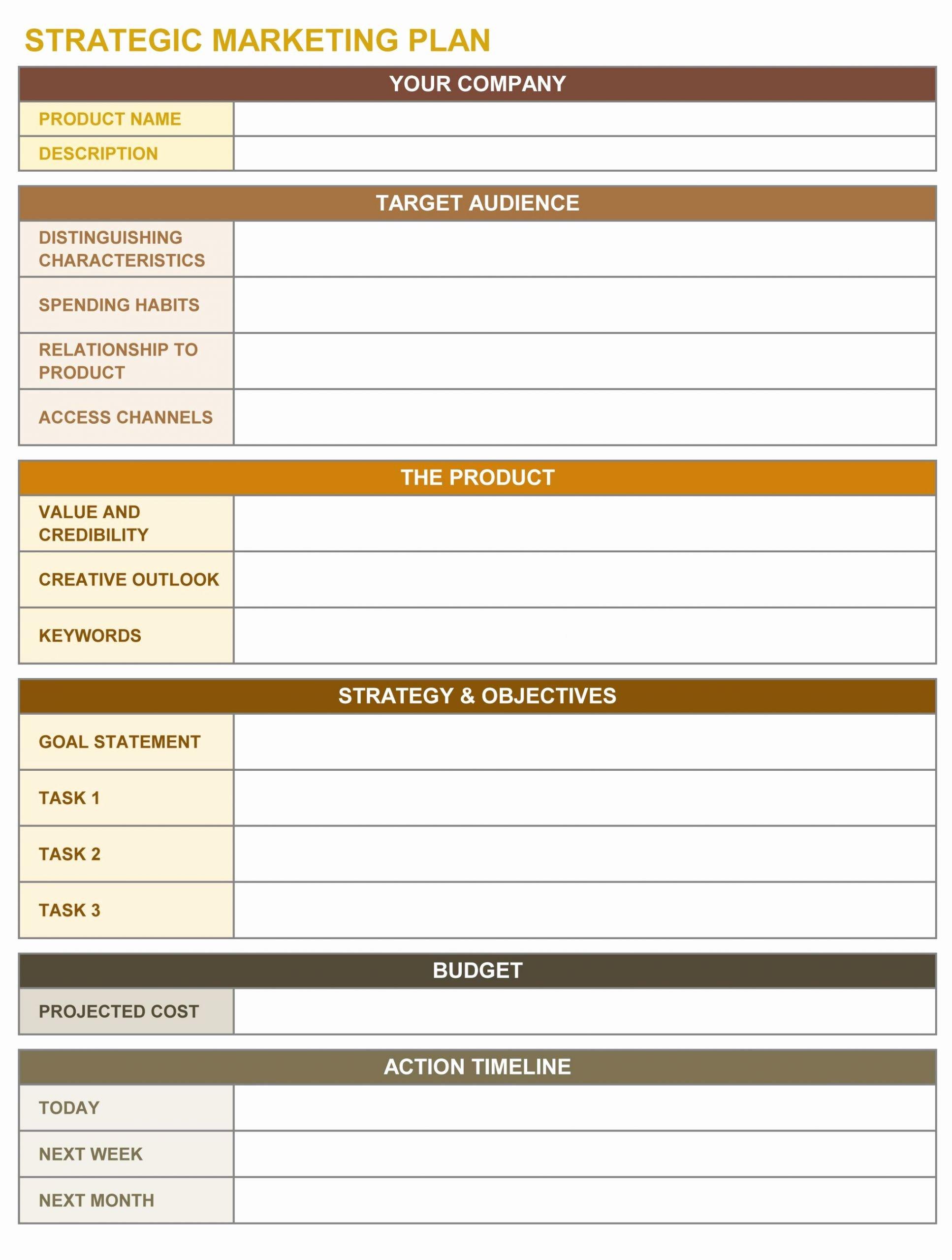Marketing Action Plan Template Excel Elegant Strategic Marketing Plan Excel Template