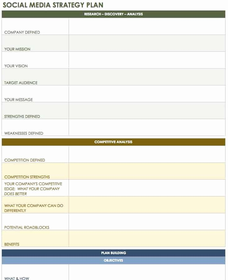 Marketing Outreach Plan Template Awesome 12 Free social Media Templates Smartsheet