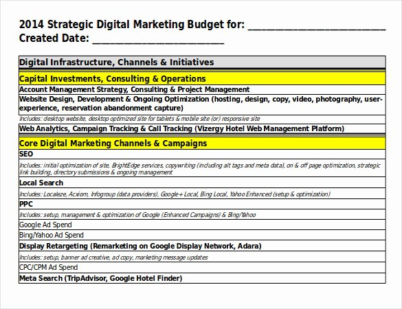 Marketing Plan Budget Template Beautiful 17 Digital Marketing Strategy Templates Free Sample