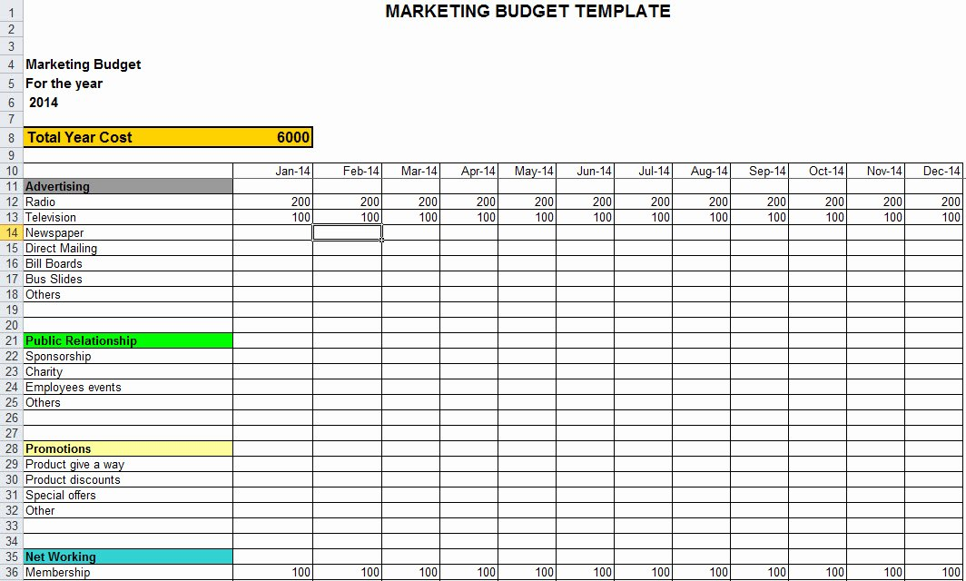 Marketing Plan Budget Template Beautiful Marketing Bud Template In Excel