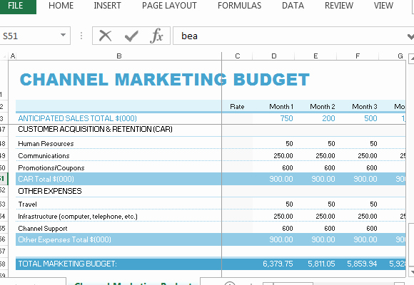 Marketing Plan Budget Template Lovely Channel Marketing Bud Template for Excel