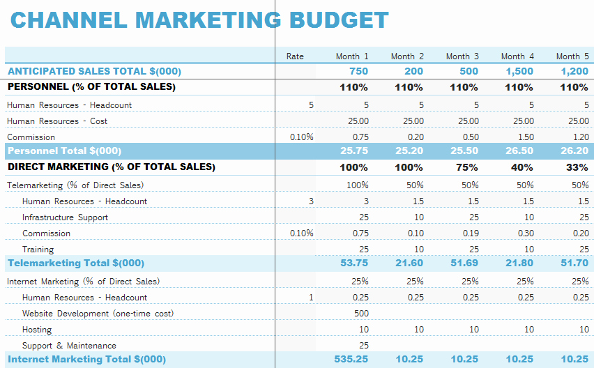 Marketing Plan Budget Template Lovely Channel Marketing Bud Template