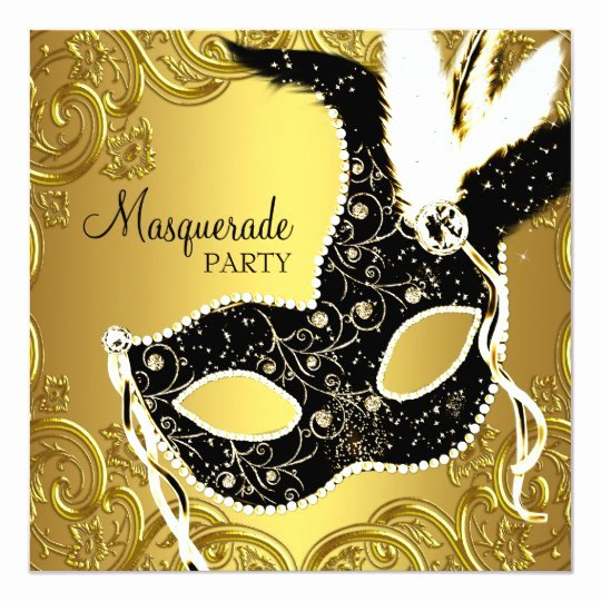 Masquerade Ball Invitations Template Awesome Black Gold Mask Masquerade Ball Party Invitation