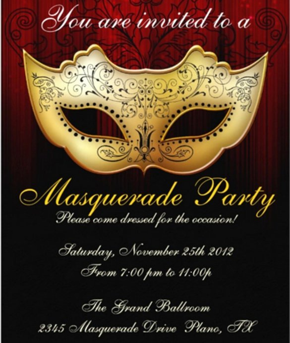 Masquerade Ball Invitations Template Beautiful 20 Masquerade Invitation Templates Word Psd Ai Eps