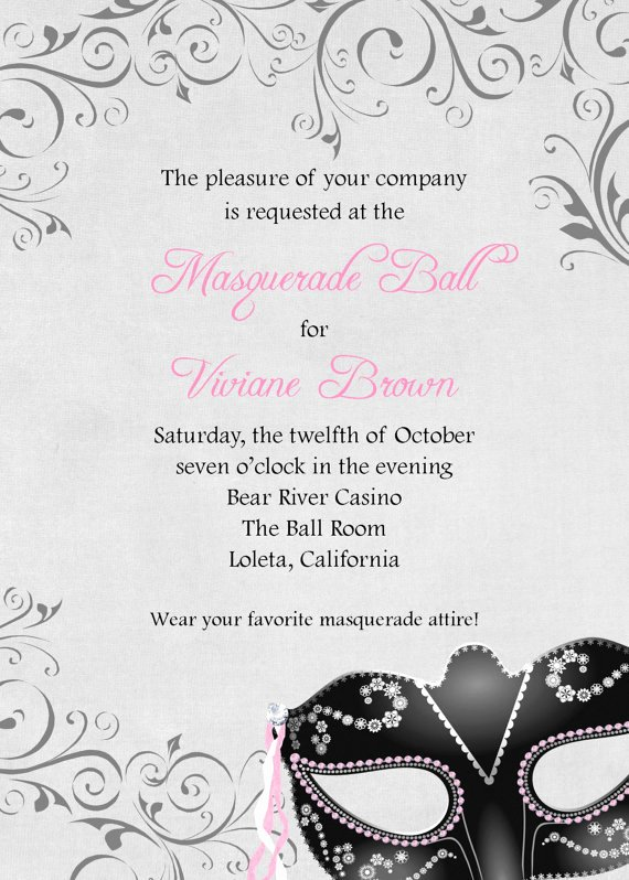 Masquerade Ball Invitations Template Fresh Masquerade Ball Invitation 5x7 Custom Digital Card