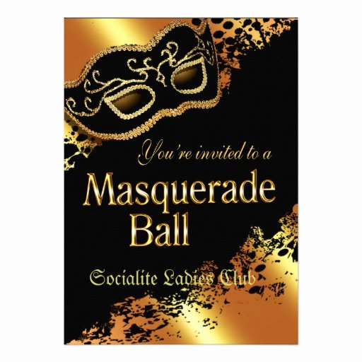 "Masquerade Ball Invitations Template New Custom Metallic Gold Masquerade Ball Invitation 5"" X 7"