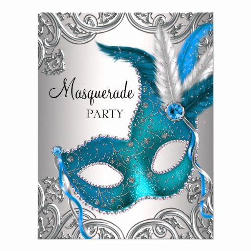 Masquerade Ball Invitations Template New Elegant Silver Teal Blue Masquerade Party Personalized