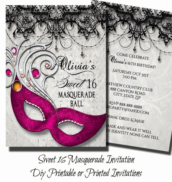Masquerade Ball Invitations Template Unique Pink Sweet Sixteen Masquerade Party Invitation Masquerade