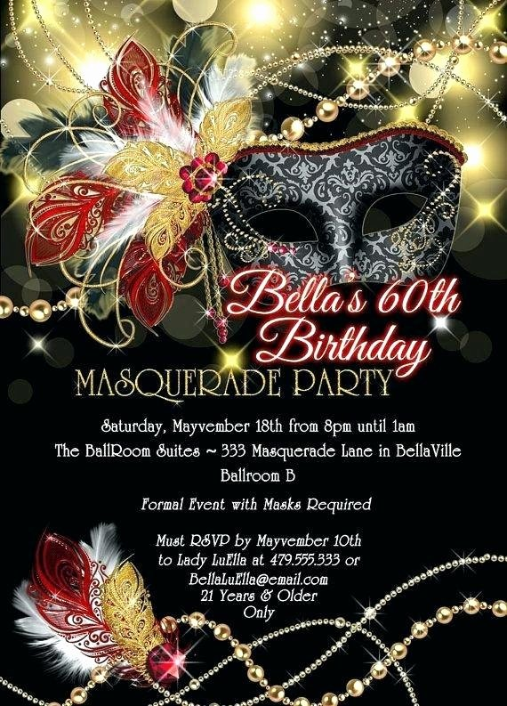Masquerade Mask Invitation Template Awesome Inspiring Masquerade Invitation Templates Collection