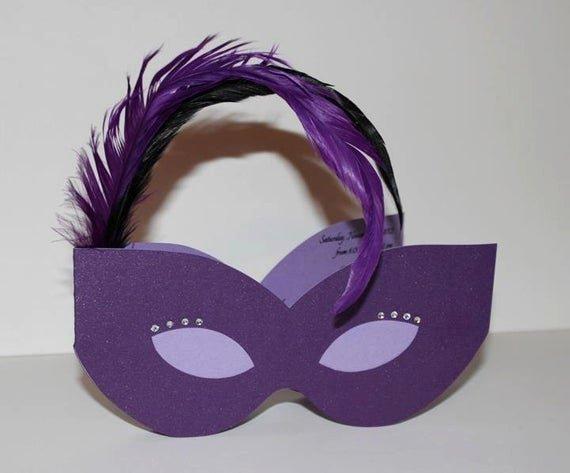 Masquerade Mask Invitation Template Elegant Masquerade Mask Invitation by Divonedesign On Etsy