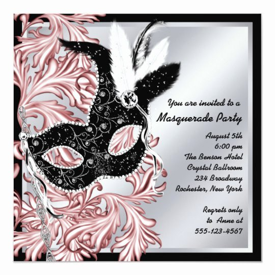Masquerade Mask Invitation Template Fresh Elegant Pink Black Masquerade Party Invitation