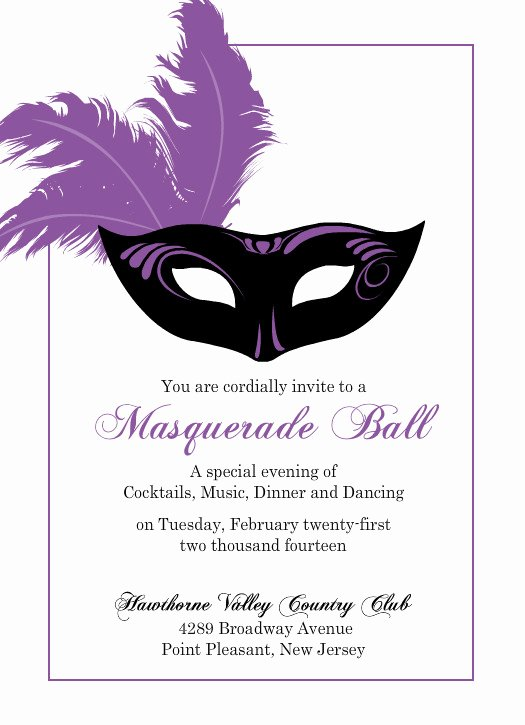 Masquerade Mask Invitation Template Lovely Flashy Purple Mask Mardi Gras Invitation Template