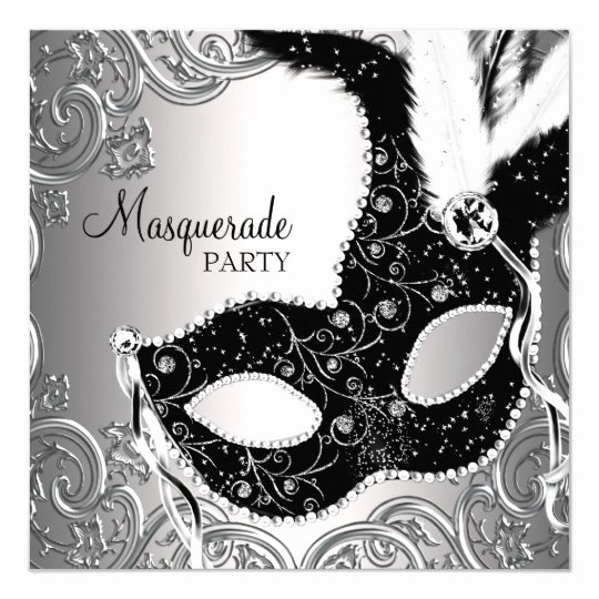 Masquerade Mask Invitation Template Lovely Silver Black Mask Masquerade Party Invitation