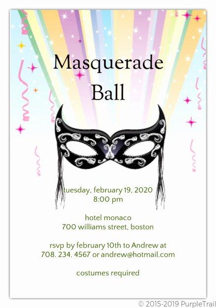 Masquerade Mask Invitation Template New Masquerade Ball Invitation