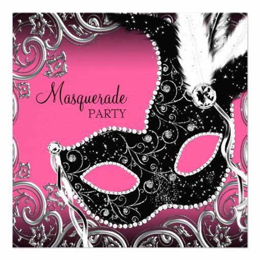 Masquerade Mask Invitation Template New Personalized Womans Pink Masquerade Birthday Party