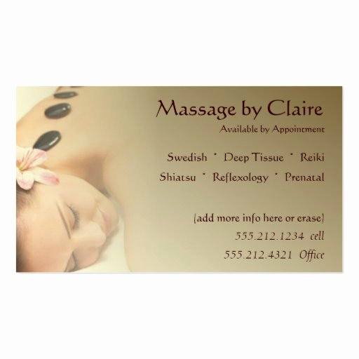 Massage therapy Business Plan Template Elegant Massage therapy Business Card