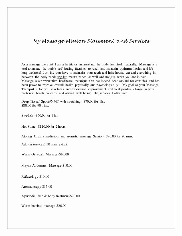 Massage therapy Business Plan Template Inspirational Massage therapy Business Plan Owners Statement