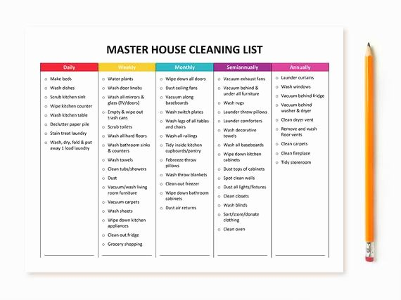 Master Cleaning Schedule Template Beautiful Printable Master House Cleaning List