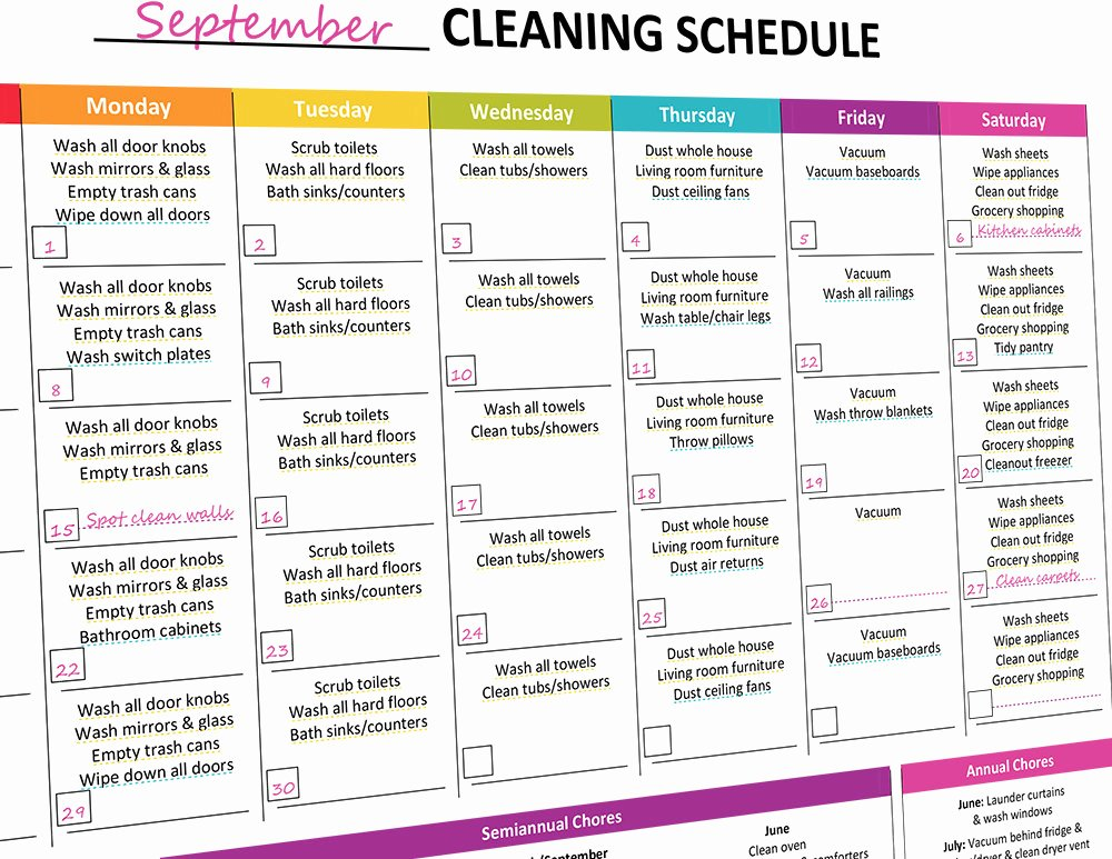 Master Cleaning Schedule Template Elegant Printable Monthly Cleaning Schedule