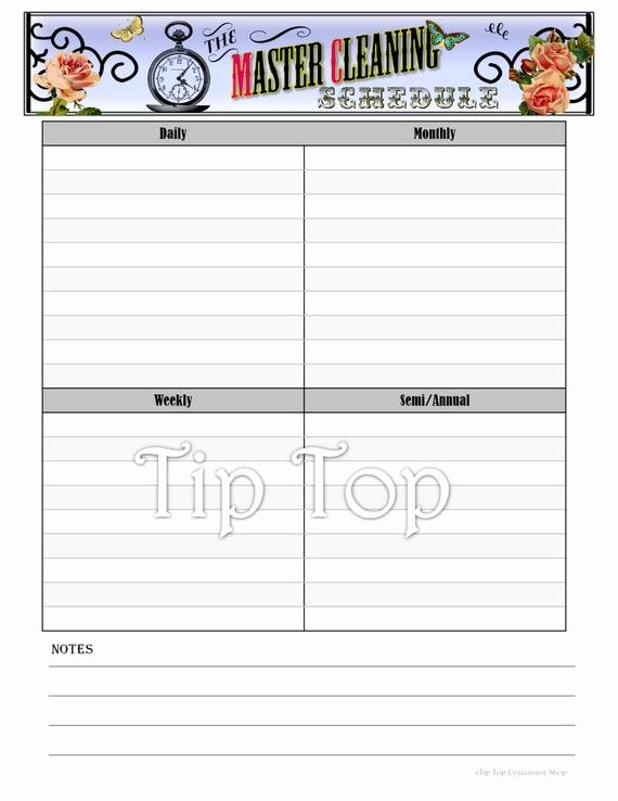 Master Cleaning Schedule Template Fresh Items Similar to Master Cleaning Schedule Home