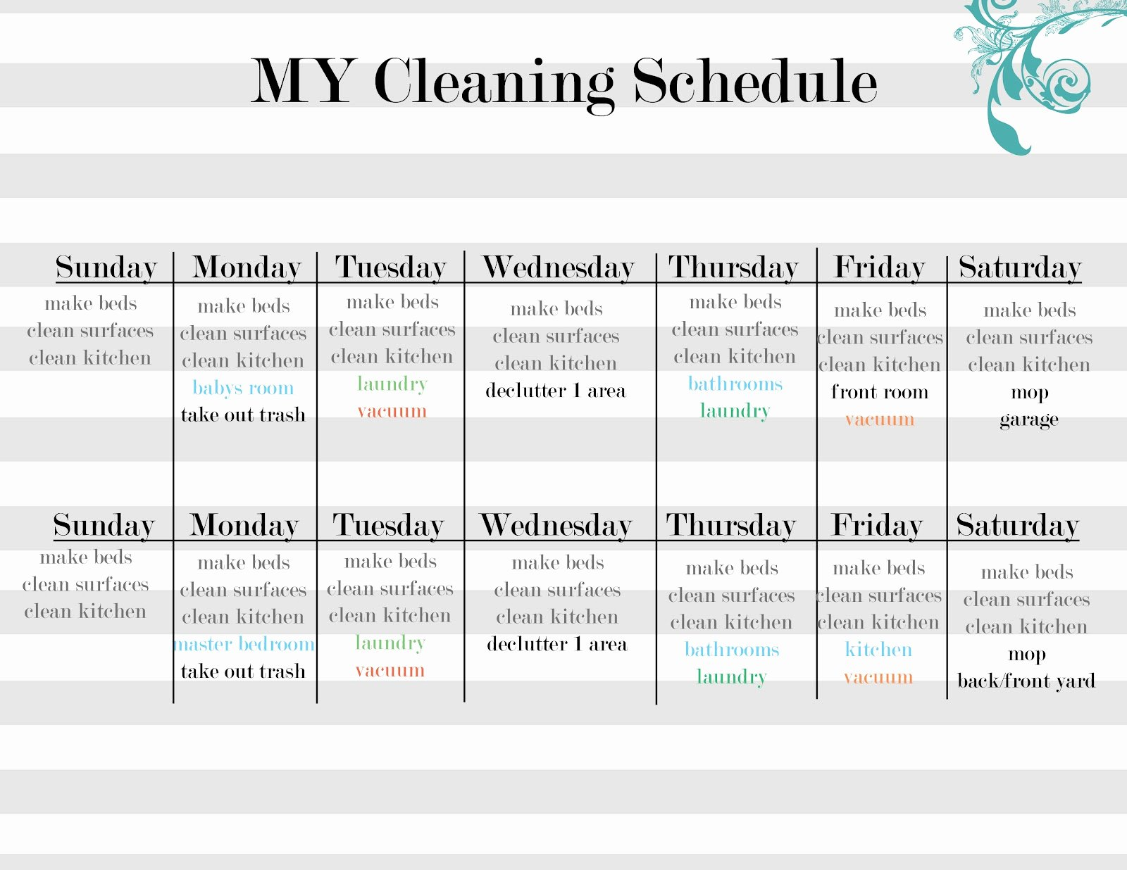 Master Cleaning Schedule Template New Sissyprint Maintaining the Tidy Guest Post Vintage Lemon