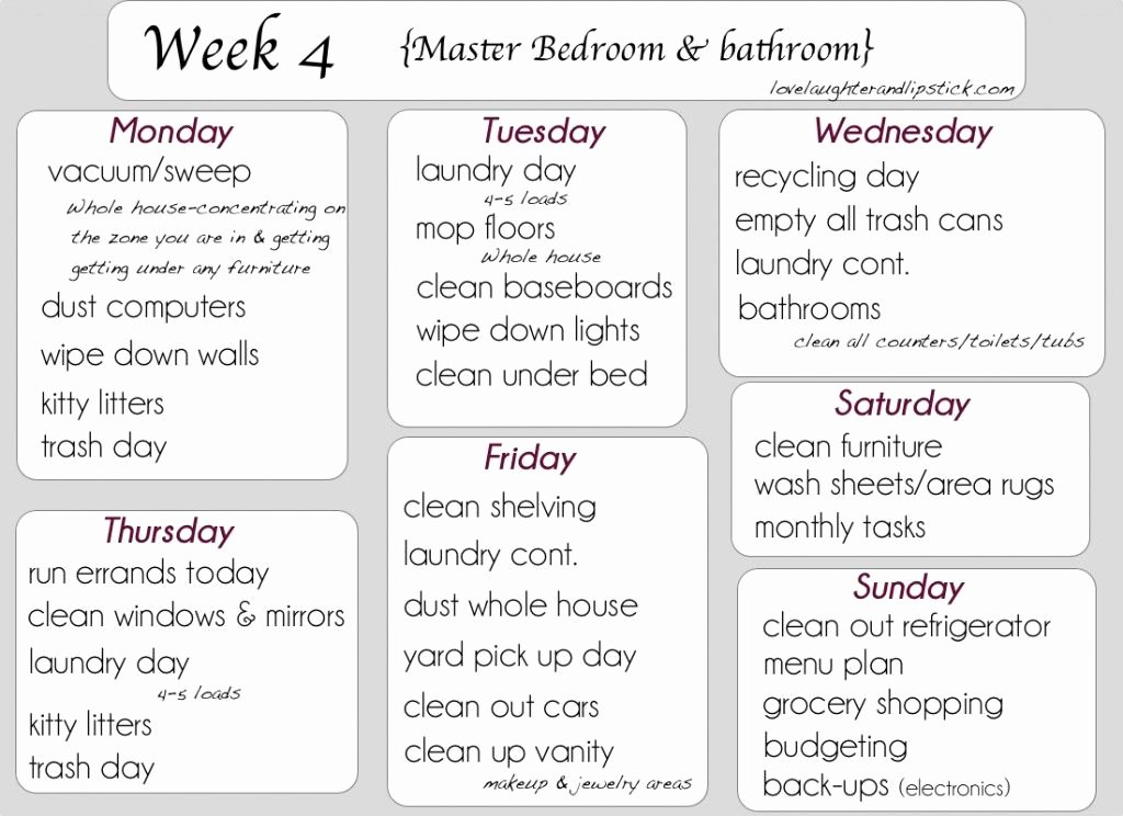 Master Cleaning Schedule Template Unique Detailed Cleaning List Week 4 Printable Cleaning List