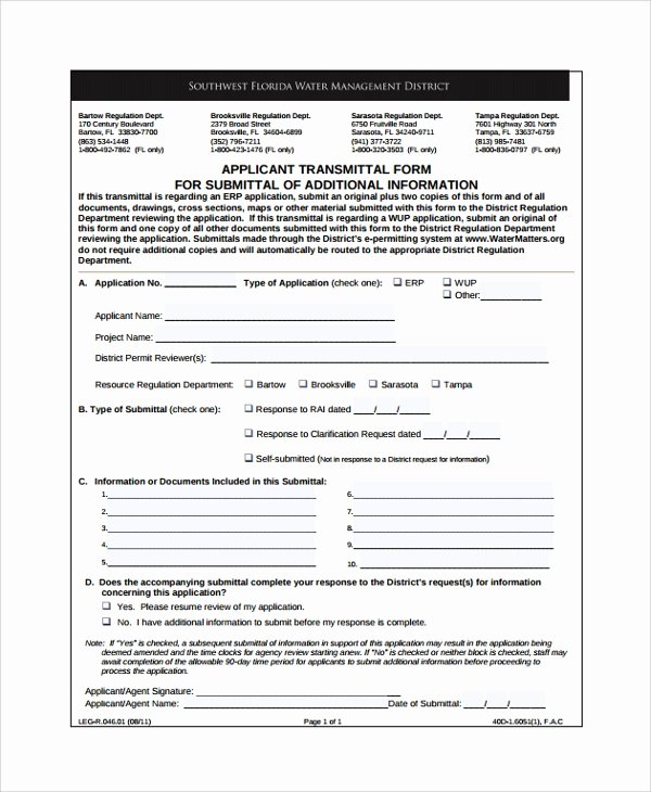 Material Submittal form Template Awesome 8 Sample Submittal Transmittal forms Pdf Word