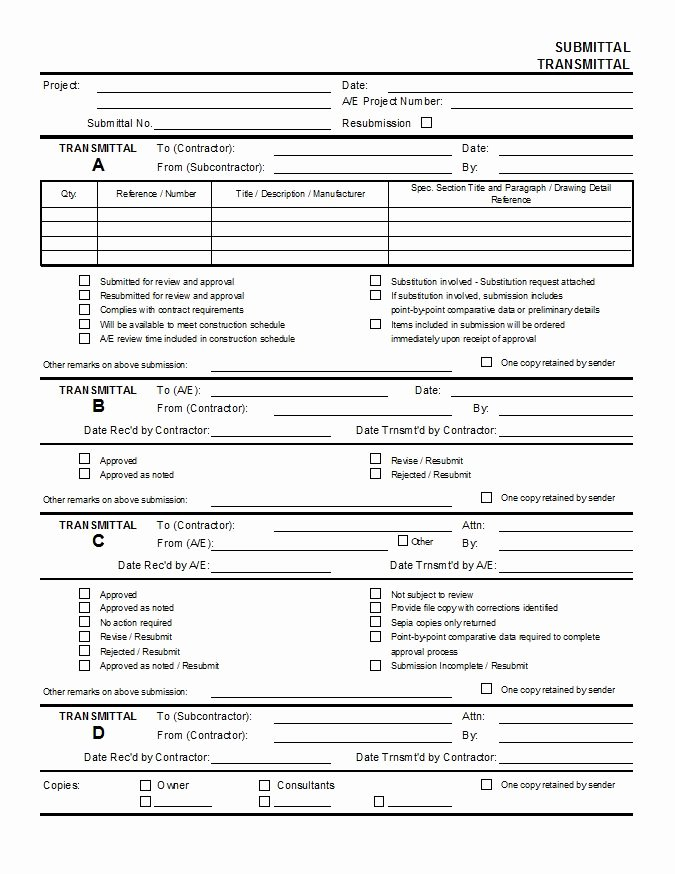 Material Submittal form Template Beautiful Submittal Transmittal Cms