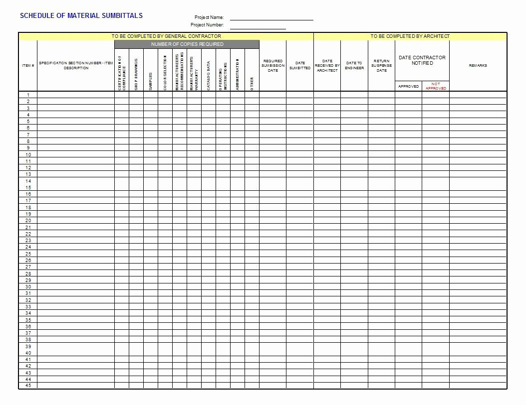 Material Submittal form Template Lovely Submittal Log