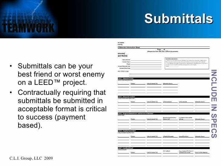 Material Submittal form Template New Leed™ at the Jobsite