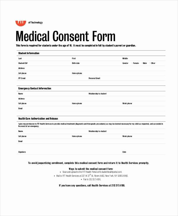 Medical Consent form Template Free Awesome Free 35 Blank Medical forms In Pdf