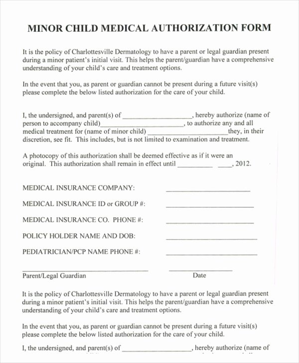 Medical Consent form Template Free Best Of 10 Printable Medical Authorization forms Pdf Doc