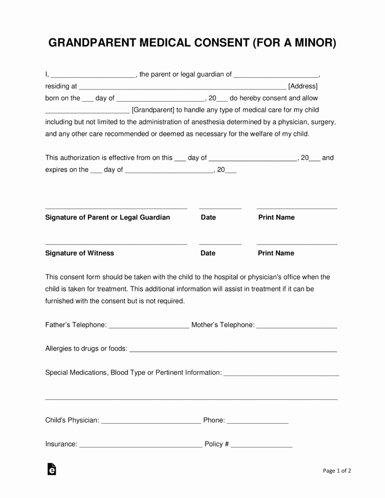 Medical Consent form Template Free Best Of Grandparents' Medical Consent form – Minor Child