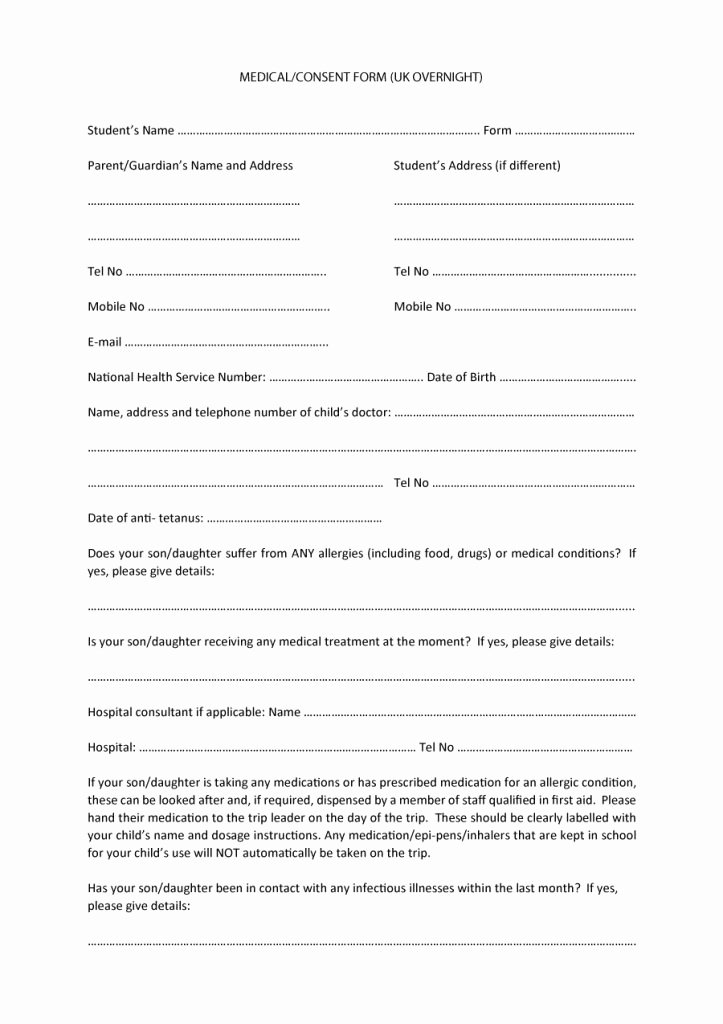 Medical Consent form Template Free Lovely 45 Medical Consent forms Free Printable Templates
