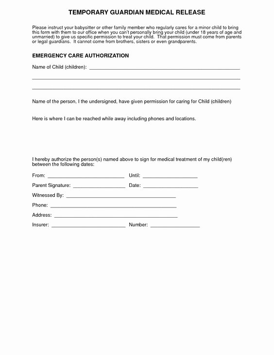 Medical Consent form Template Free Luxury Medical Consent form for Grandparents