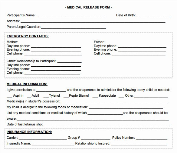 Medical Consent form Template Free Unique Sample Medical Release form 10 Free Documents In Pdf Word
