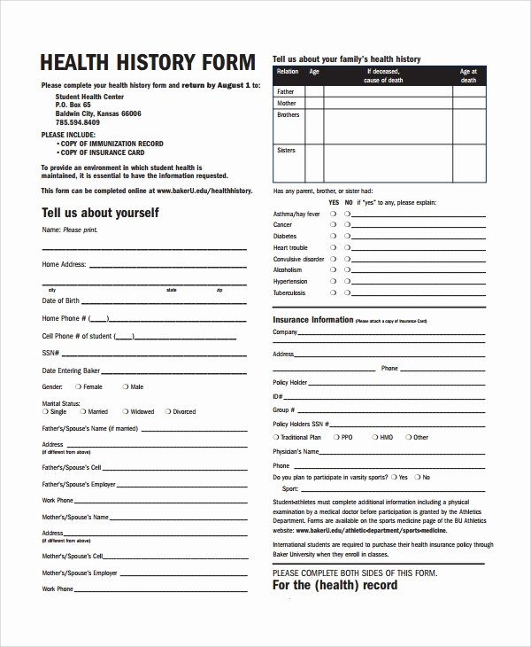 Medical History form Template Pdf Beautiful Sample Health History Template 9 Free Documents
