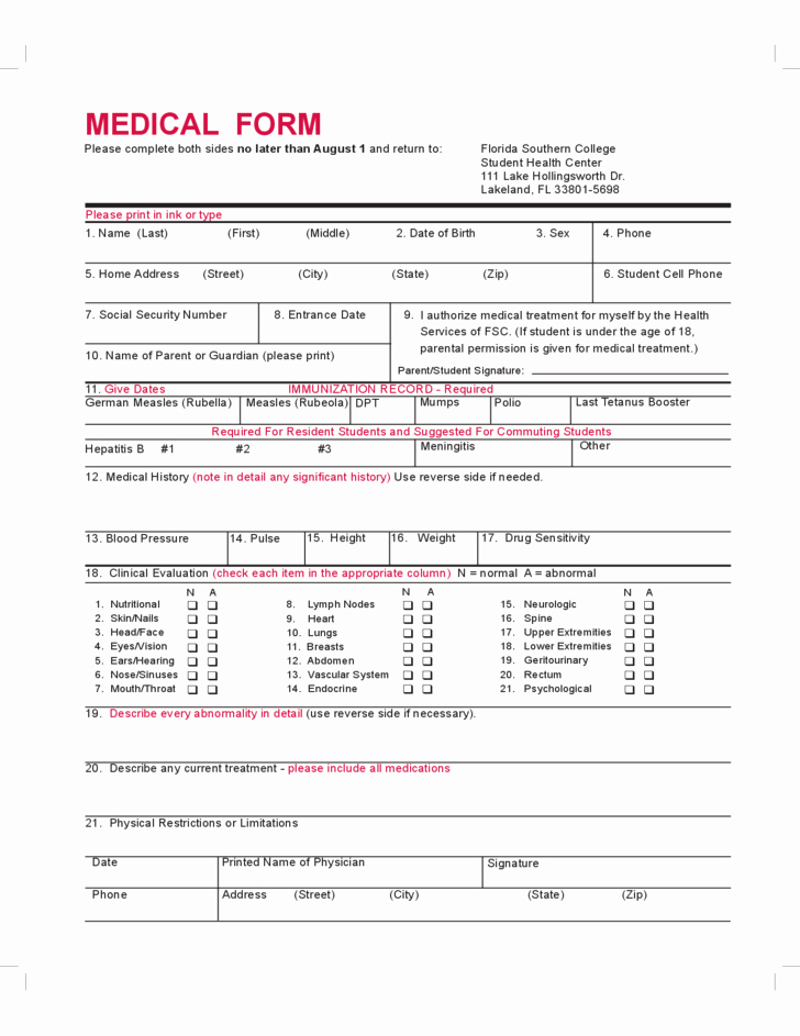 Medical History form Template Pdf Beautiful Student Medical form Florida Free Download