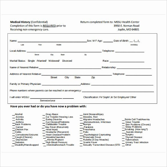 Medical History form Template Pdf Elegant Medical History form 7 Download Free Documents In Pdf Word