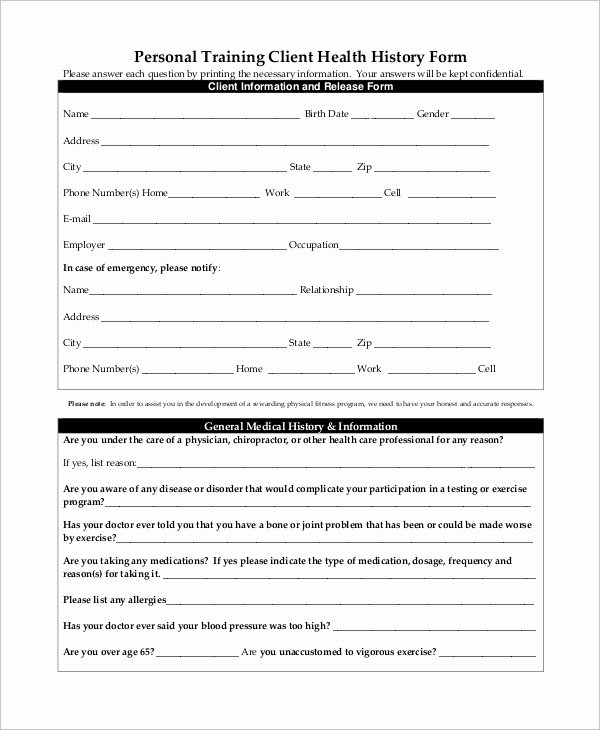 Medical History form Template Pdf Fresh Sample Medical History form 10 Examples In Word Pdf
