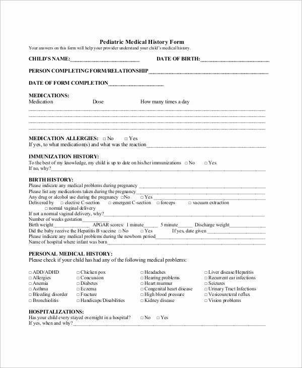 Medical History form Template Pdf Lovely Sample Medical History form 10 Examples In Word Pdf