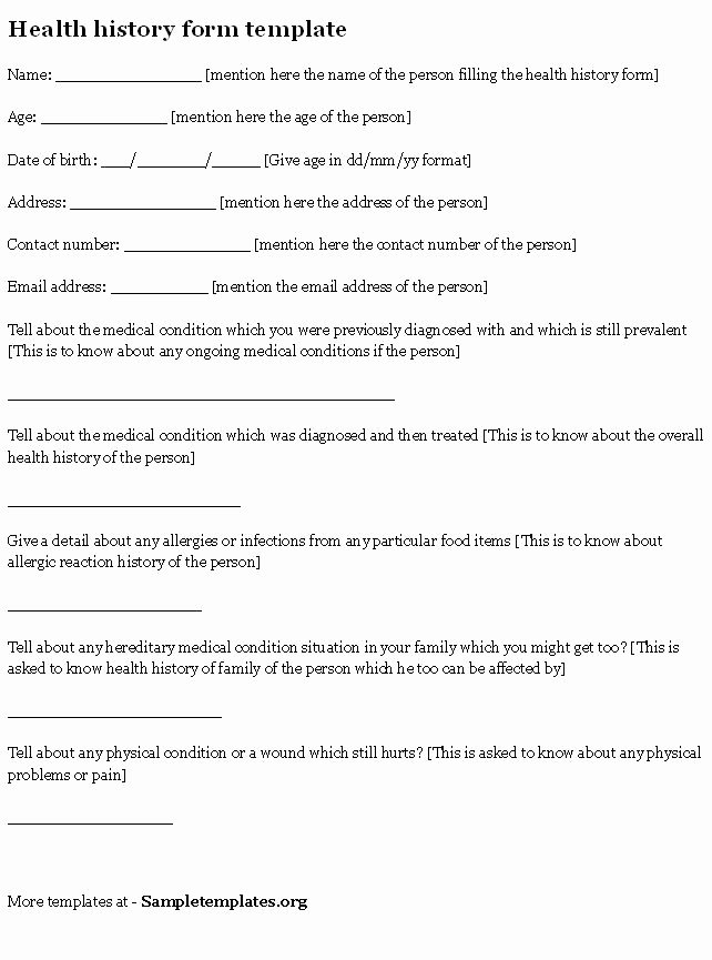 Medical History form Template Pdf Unique Health History form Sample Of Health History form