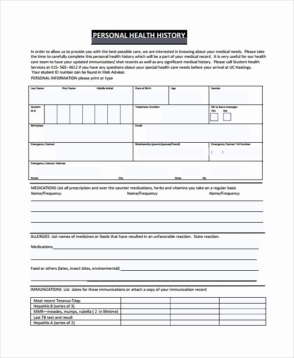 Medical History form Template Pdf Unique Sample Health History Template 9 Free Documents